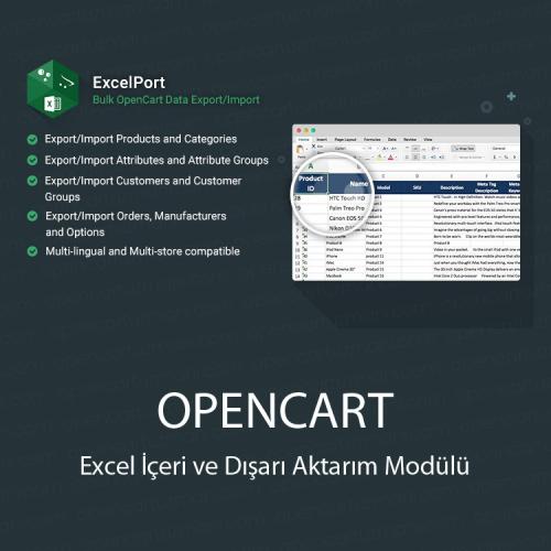 Opencart Excel İçeri ve Dışarı Aktarım Modülü